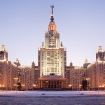 Moscow State University. Front facade view. Evening twilight in the winter